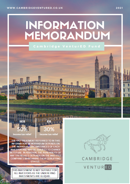 Cambridge VenturED EIS Fund Cover